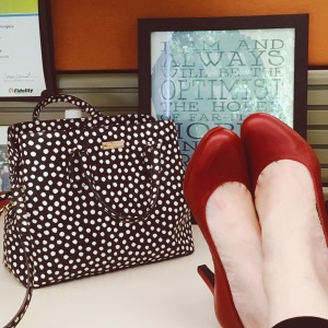 red shoes and polka dots